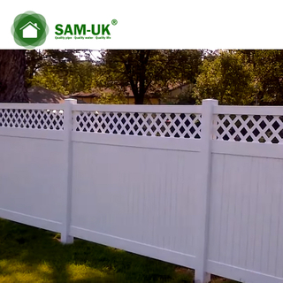 5' x 8' vinyl privacy fence with top lattice on a slope hill