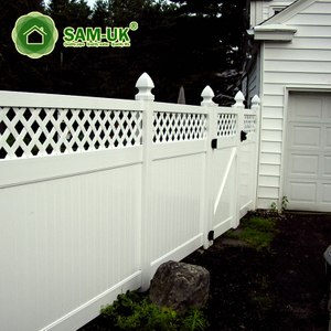 6' x 8' composite vinyl privacy fencing with top lattice on deck