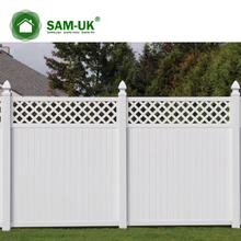 5' x 8' vinyl privacy fencing with top lattice uphill