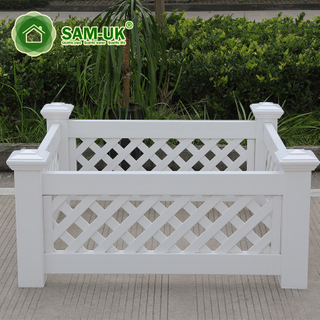 White Modern Vinyl Planter Box Along Fence